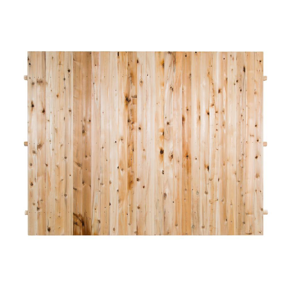 6 ft. H x 8 ft. W Privacy Eastern White Cedar Moulded and Dowell 4 in. Flat Top Picket Fence Panel