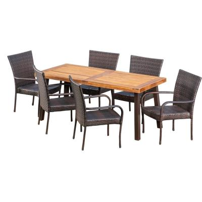 Malani 7-Piece Wood and Wicker Outdoor Dining Set with Stacking Chairs