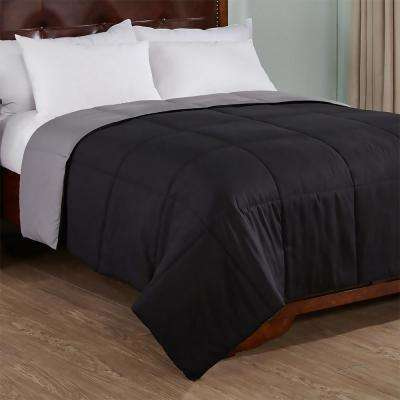 Reversible Black/Gray Twin Lightweight Down Alternative Comforter