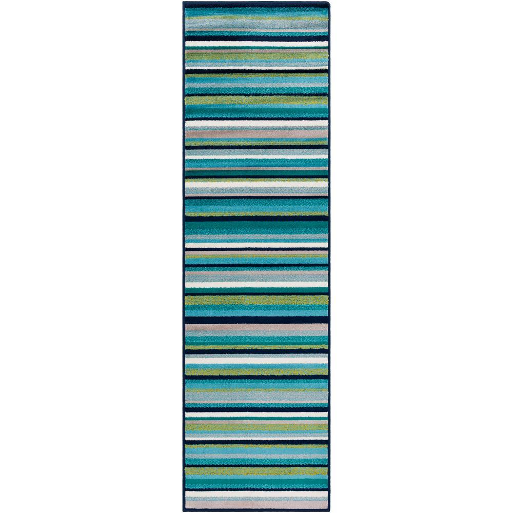 Artistic Weavers Sora Teal/Lime 2 ft. 2 in. x 7 ft. 6 in. Striped Runner Rug