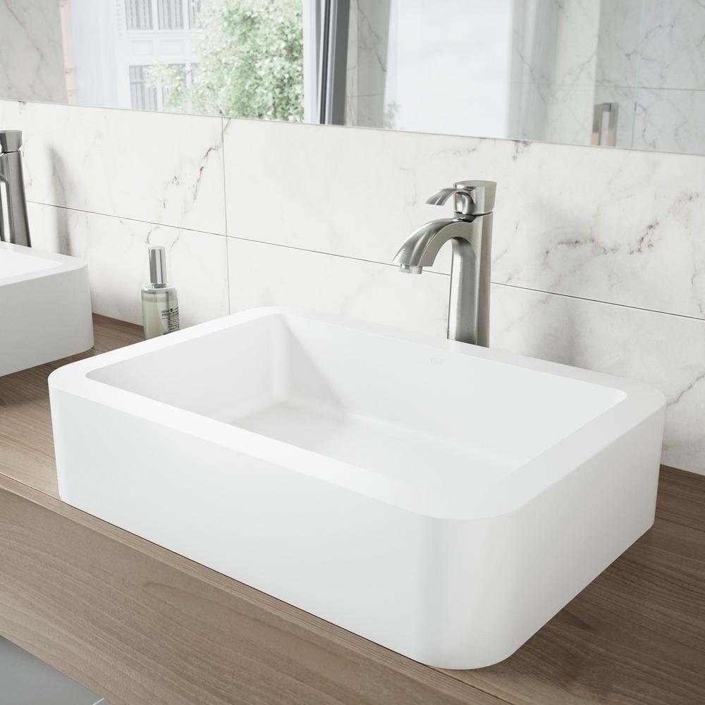 Navagio Matte Stone Vessel Sink in White with Otis Bathroom Vessel Faucet in Brushed Nickel