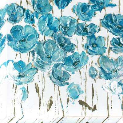 24 in. x 24 in. Dusty Blue Poppies Stretched Painted Canvas Wall Art
