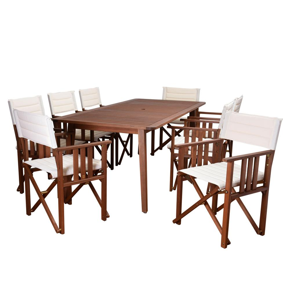 Amazonia Rio 9-Piece Eucalyptus rectangular (ARI_8Taos) Patio Dining Set with Off White Canvas