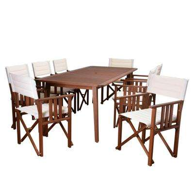 Rio 9-Piece Eucalyptus rectangular (ARI_8Taos) Patio Dining Set with Off White Canvas