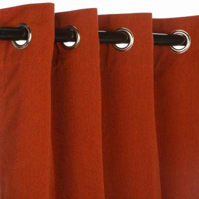50 in. x 108 in. Outdoor Single Curtain with Nickel Grommet in Brick