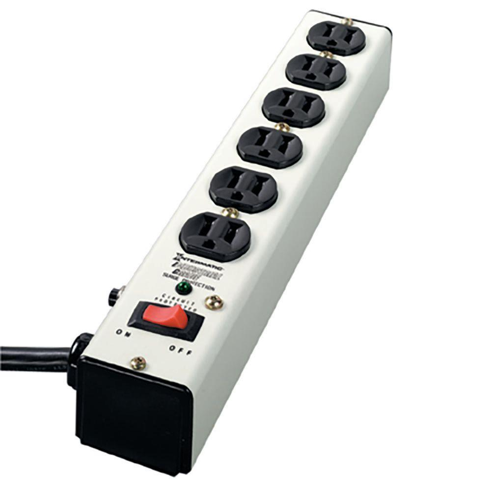 6 ft. 6-Outlet Surge Strip Computer Grade with Lighted On/Off Switch,