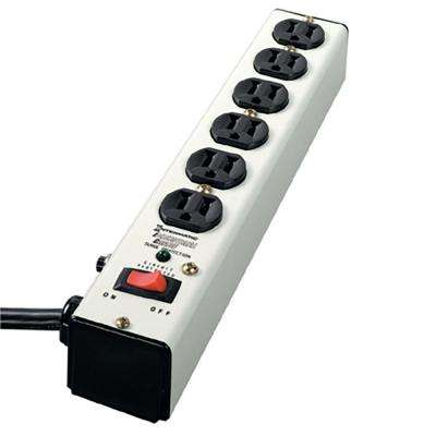 6 ft. 6-Outlet Surge Strip Computer Grade with Lighted On/Off Switch, White