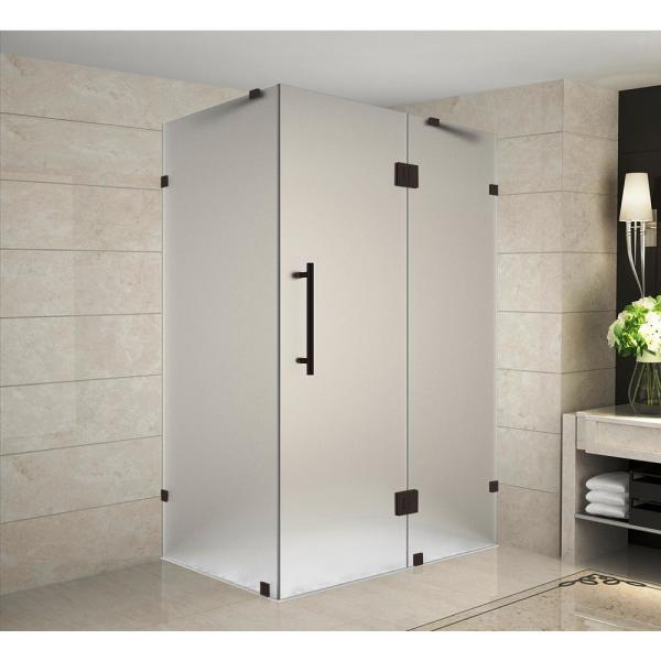 Aston Avalux 37 In X 30 In X 72 In Frameless Corner Hinged Shower Enclosure With Frosted Glass In Bronze Sen987f Nbr 3730 10 The Home Depot