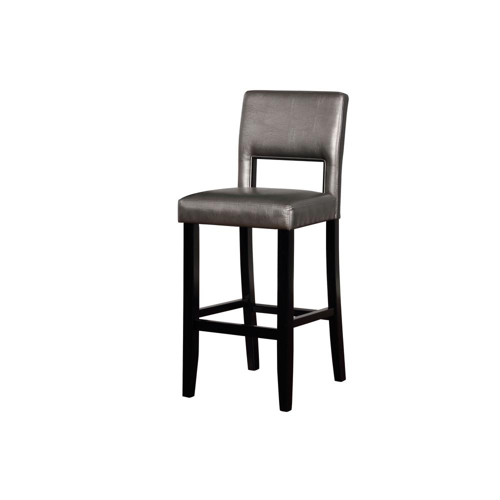 Veronica 30 in. Pewter Upholstered and Black Bar Stool
