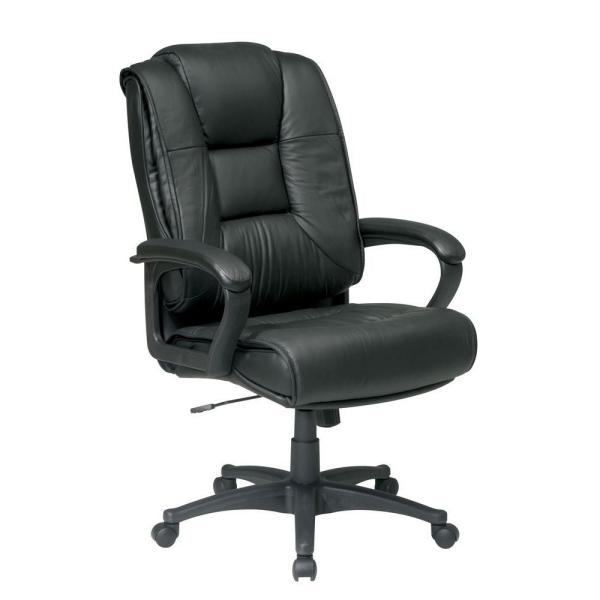 Office Star Products Black Leather High Back Office Chair EX5162-G13