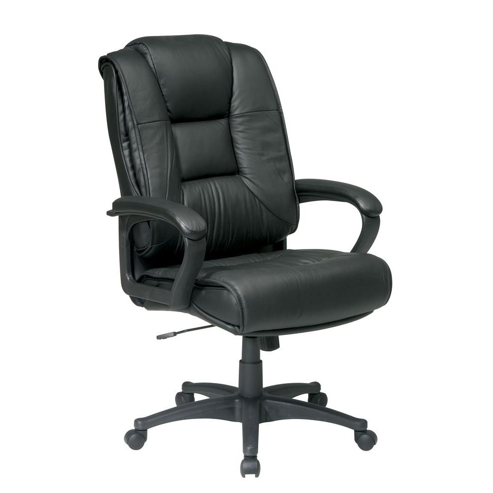 Work Smart Black Leather High Back Office Chair  sc 1 st  Home Depot : chairs for work - Cheerinfomania.Com