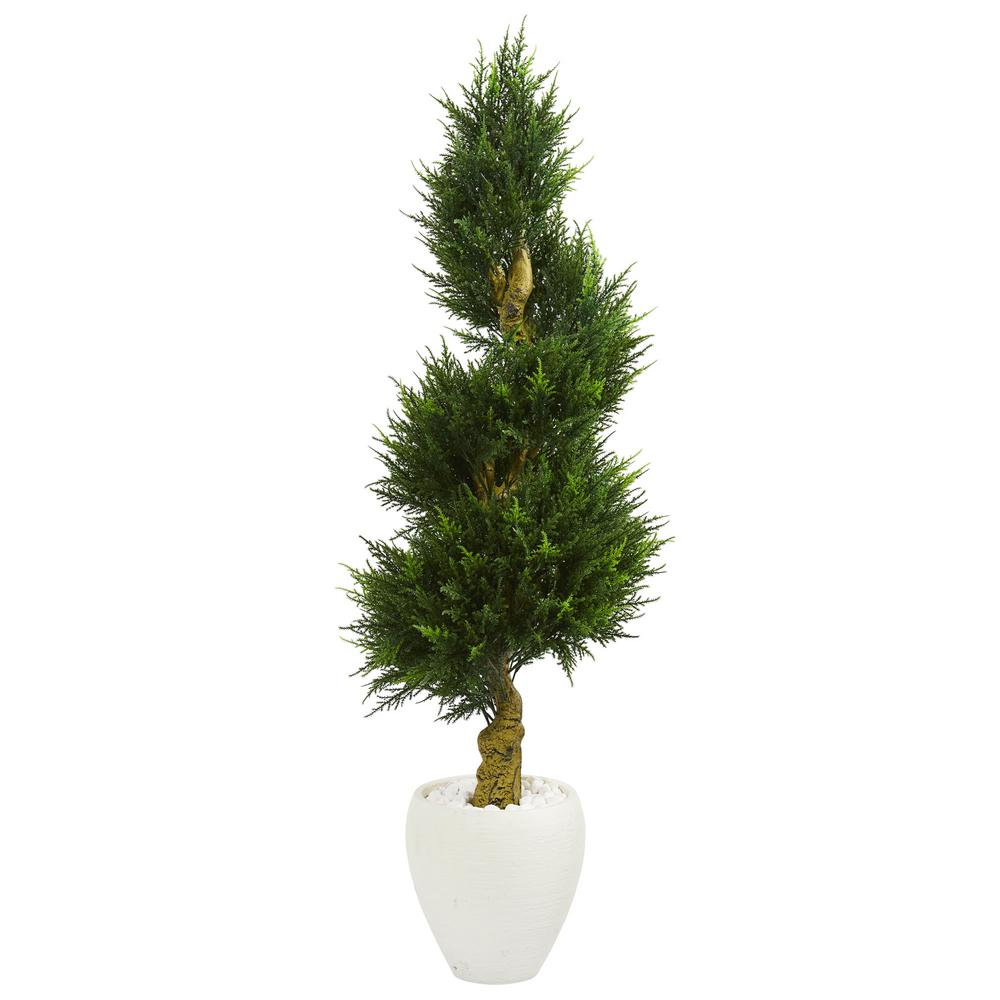 5 ft. High Indoor/Outdoor Cypress Spiral Artificial Tree in White Oval