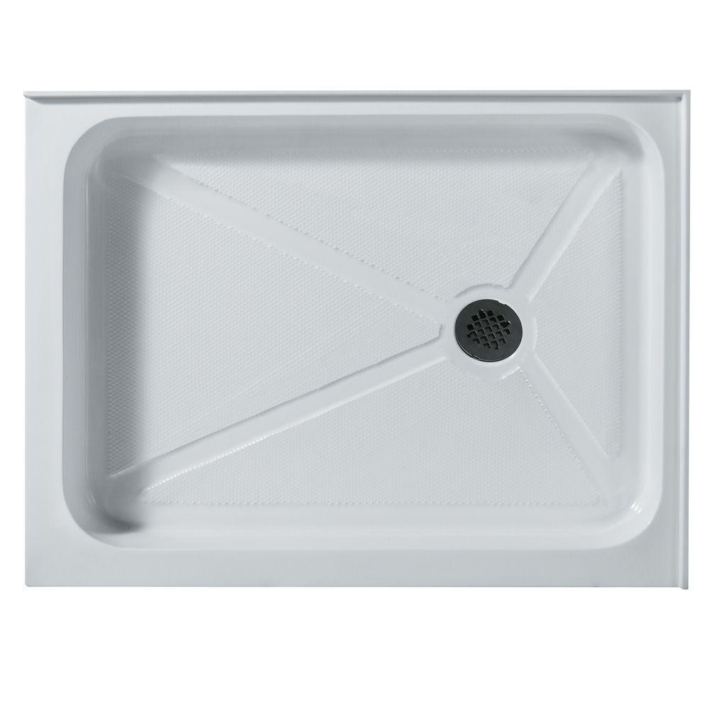 VIGO 32 in. x 40 in. Rectangular Shower Tray in White with Right Drain