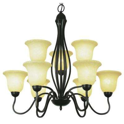 Stewart 9-Light Rubbed Oil Bronze Chandelier with Champagne Frost Glass Shades