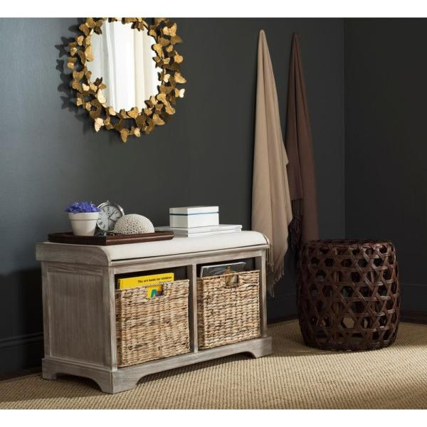 Safavieh Caius Natural Storage Bench Sea7017a The Home Depot