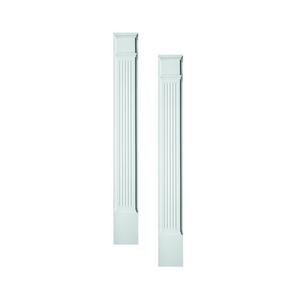 Fypon 1-5/8 in. x 4-1/2 in. x 86 in. Polyurethane Fluted Pilasters Moulded with Plinth Block - Pair