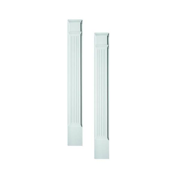 1-5/8 in. x 5-1/4 in. x 90 in. Polyurethane Fluted Pilasters Moulded with Plinth Block - Pair
