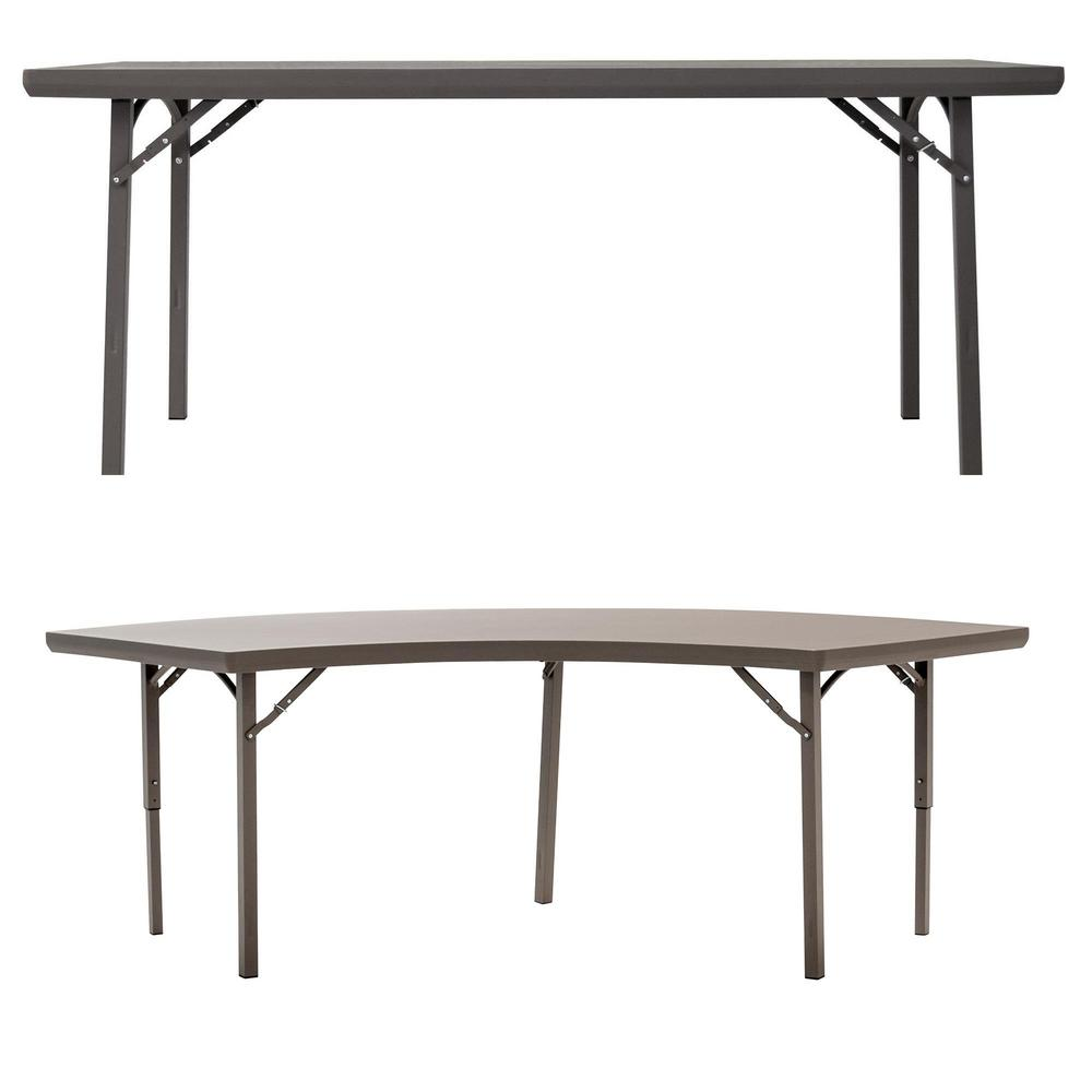 Cosco 48 in. Brown Plastic Folding Banquet Tables (Set of 8)