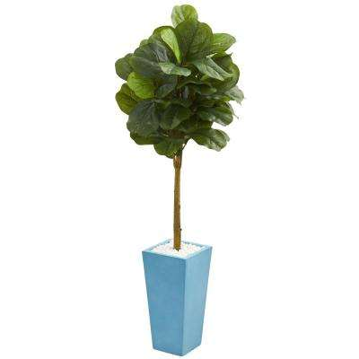 Real Touch 4 ft. High Indoor Fiddle Leaf Artificial Tree in Turquoise Planter