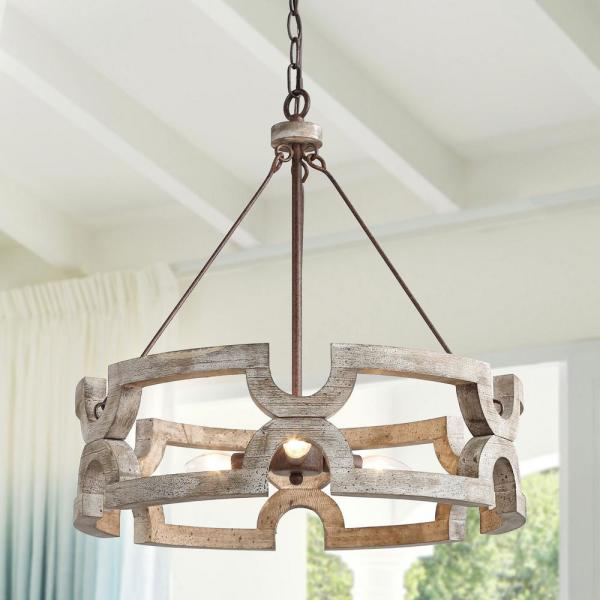 Jolla 20 in. 3-Light Rustic Bronze Weathered Wood Chandelier Modern Farmhouse Candelabra Drum Pendant