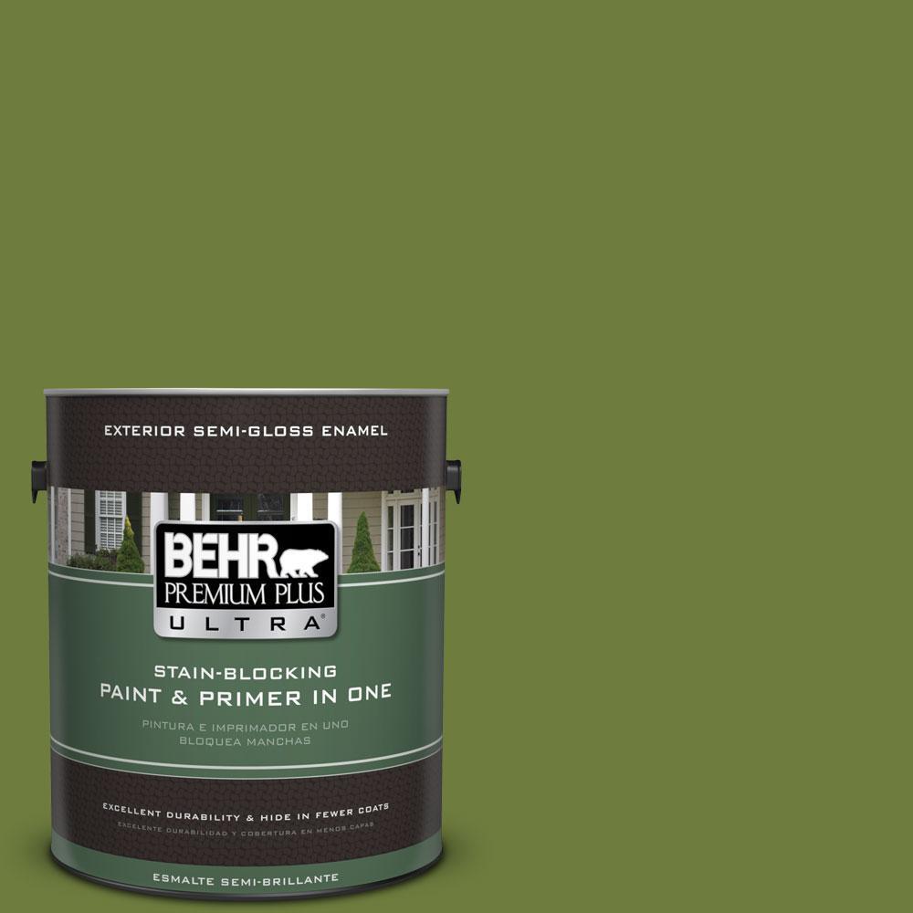 BEHR Premium Plus Ultra 1-gal. #410D-6 Moss Landing Semi-Gloss Enamel Exterior Paint