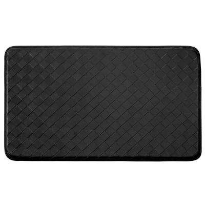Chef Gear Diamond Weave Faux-Leather Black 24 in. x 36 in. PVC Anti-Fatigue Kitchen Mat