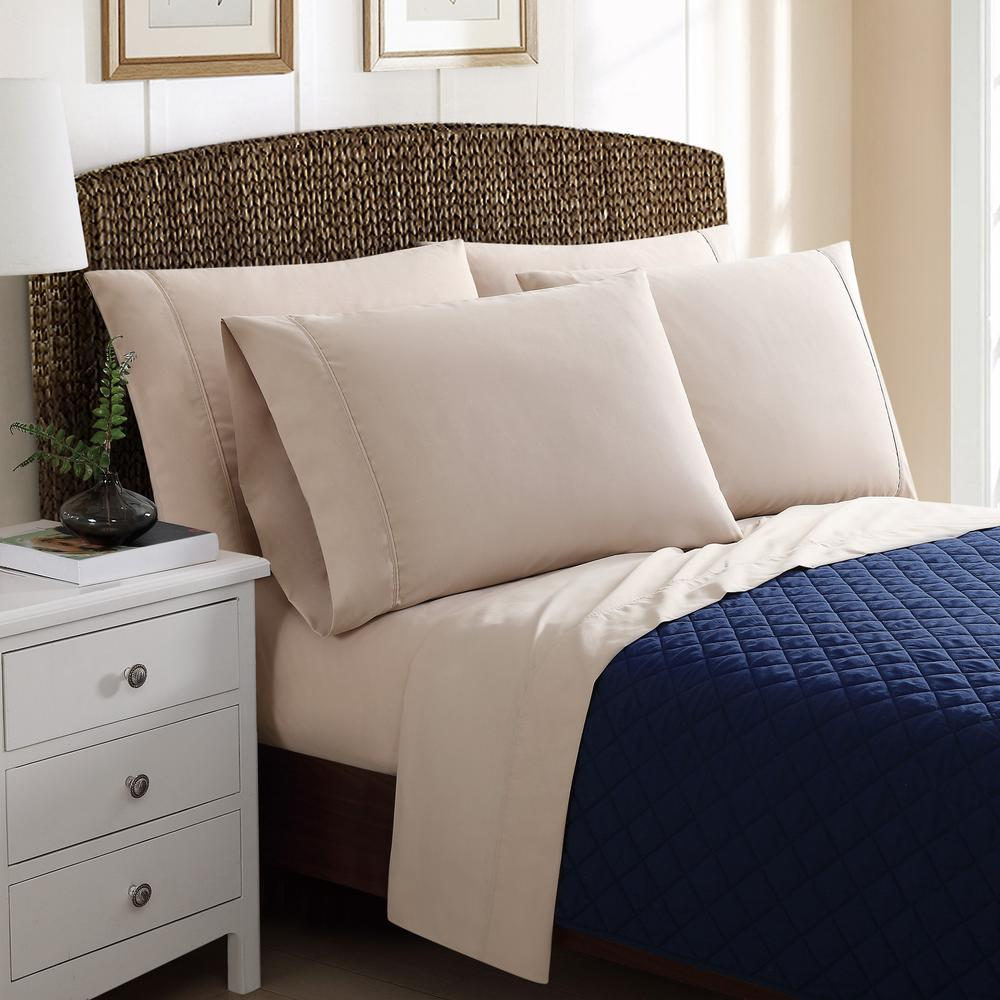6-Piece Solid Khaki California King Sheet Sets