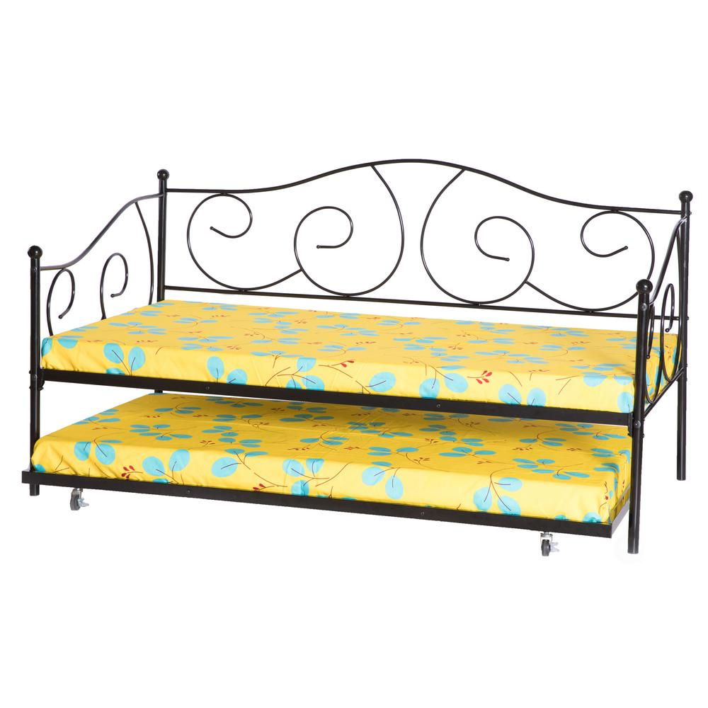 - Unbranded Black Twin Size Metal Daybed And Trundle Bed Frame Set