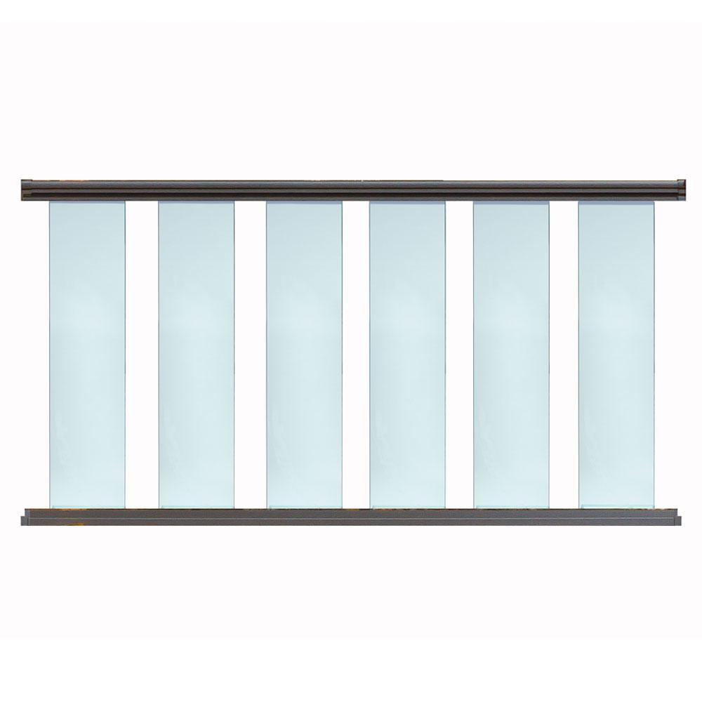 8 ft. x 42 in. Bronze Aluminum Frame Glass Baluster Railing Kit