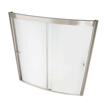 Ovation 60 in. x 58 in. Framed Sliding Tub/Shower Door in Satin Nickel