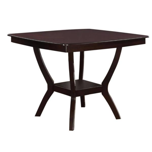 Brown Square Shaped Wooden Counter Height Table with Bottom Shelf