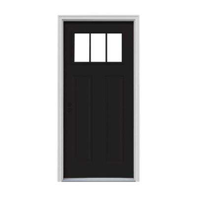 32 in. x 80 in. 3 Lite Craftsman Black Painted Steel Prehung Right-Hand Inswing Front Door w/Brickmould
