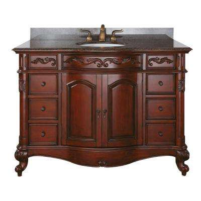 Provence 49 in. W x 22 in. D x 35 in. H Vanity in Antique Cherry with Granite Vanity Top a Imperial Brown