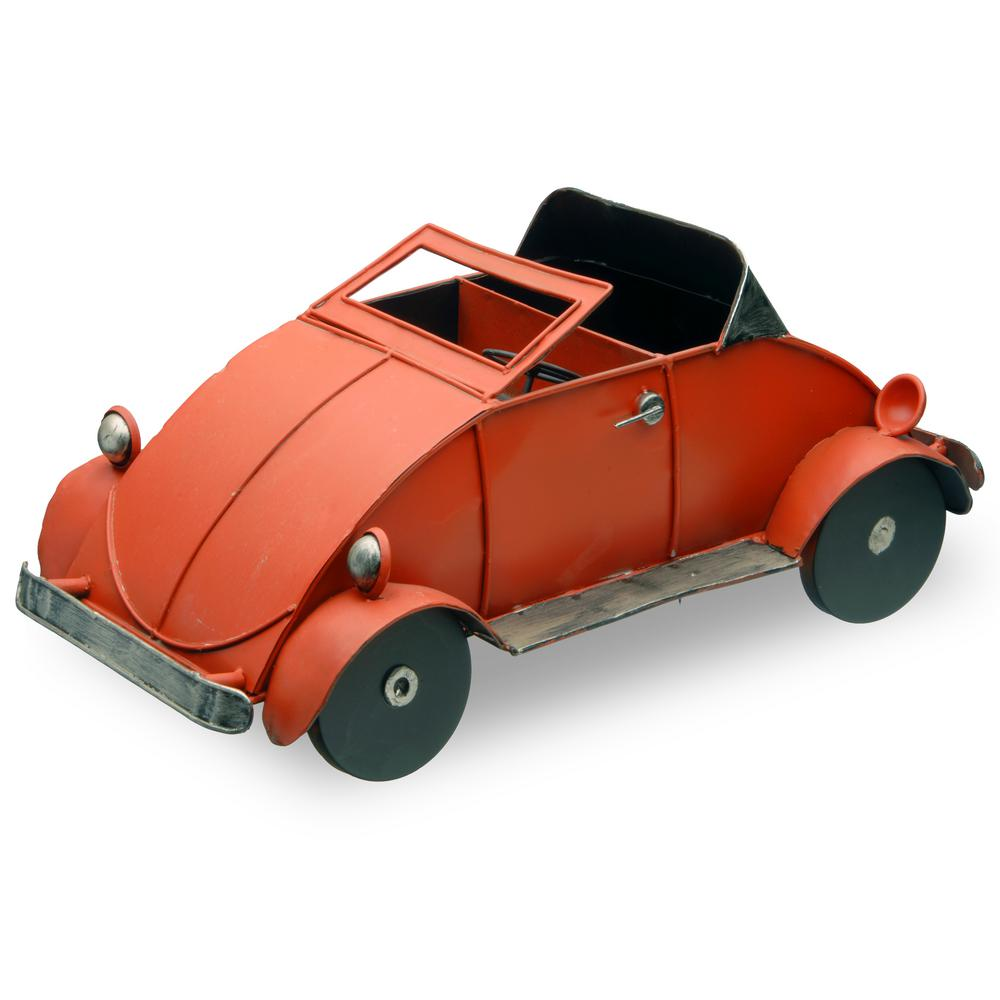 National Tree 17 in. Metal Car Lawn Ornament, Red/Pink