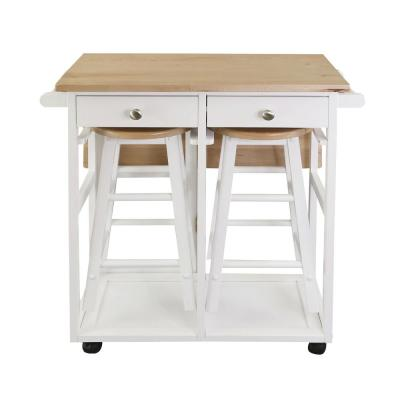 Kitchen Breakfast Cart with Drop-Leaf Table, American Maple Top, Square in White