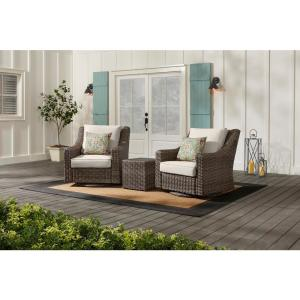 Rock Cliff Brown 3-Piece Wicker Outdoor Patio Seating Set with CushionGuard Almond Tan Cushions
