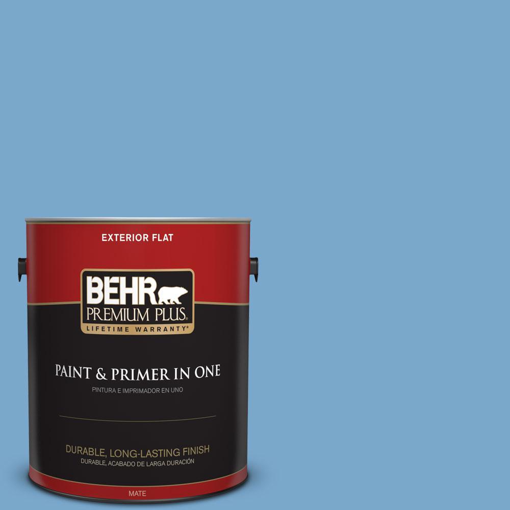 BEHR Premium Plus 1-gal. #M520-4 Mirror Lake Flat Exterior Paint
