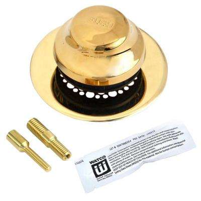 Universal NuFit Foot Actuated Bathtub Stopper with Grid Strainer and 2-Pin Adapters - Silicone, Polished Brass