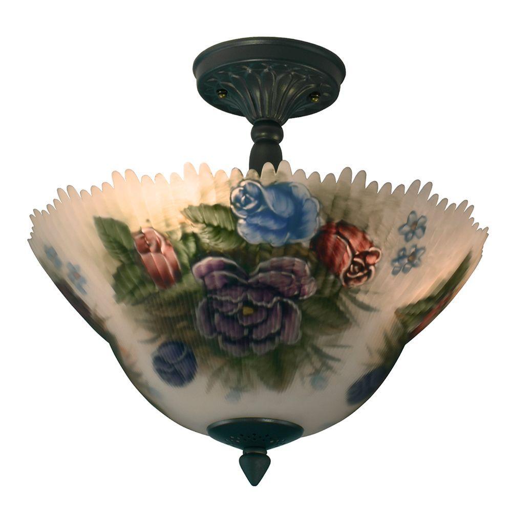 Pansy 3-Light Antique Brass Semi-Flush Mount Light