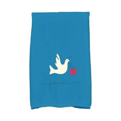 16 in. x 25 in. Teal Peace Dove Holiday Animal Print Kitchen Towel