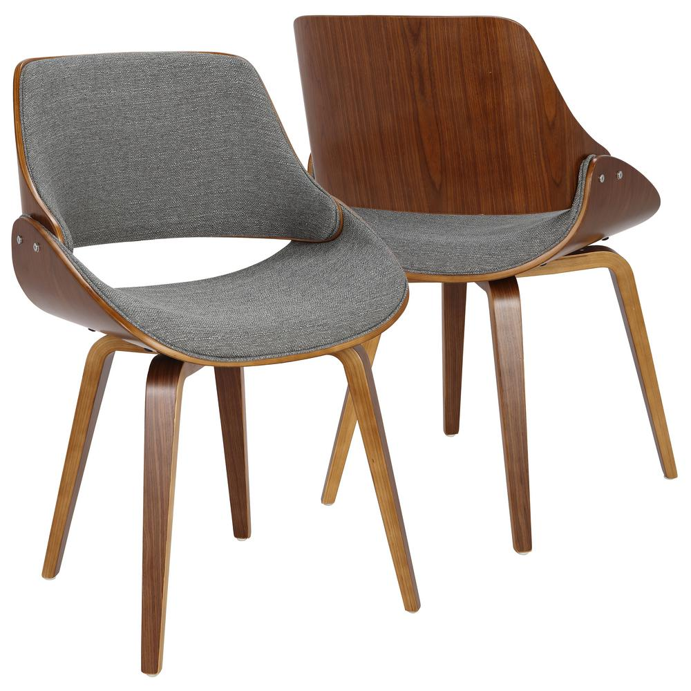 Lumisource fabrizzi grey and walnut dining accent chair