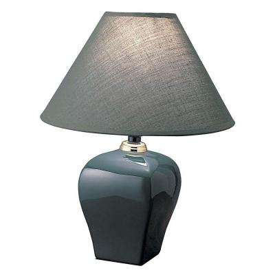 13 in. Ceramic Green Table Lamp