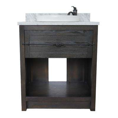 Plantation II 31 in. W x 22 in. D Bath Vanity in Brown with Marble Vanity Top in White with White Round Basin