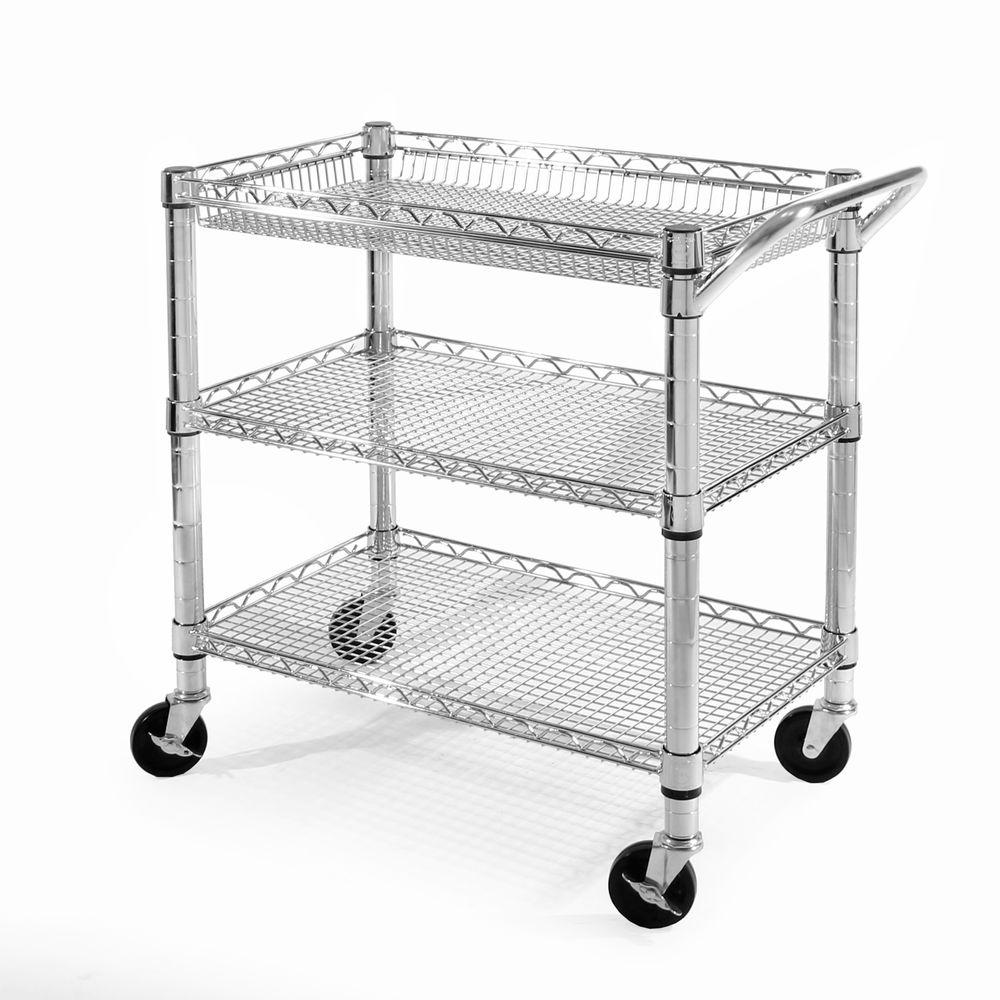 Seville Classics 3 Shelf Ultra Zinc Heavy Duty Commercial Utility Cart
