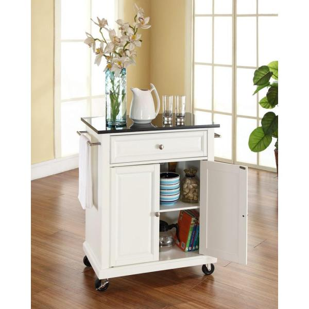 Crosley White Kitchen Cart with Black Granite Top KF30024EWH