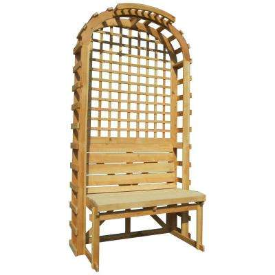 78 in. x 42 in. Pine English Cottage Garden Arbor with Bench and Grid Trellis Backdrop, Natural