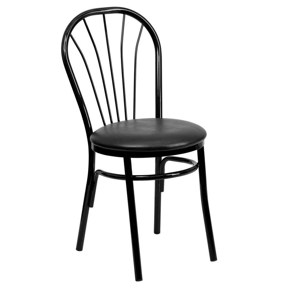 Flash Furniture Hercules Series Black Fan Back Metal Chair   Black Vinyl  Seat XU698BBLKV   The Home Depot