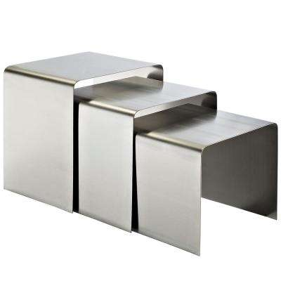 Rush Stainless Steel Nesting Table in Silver