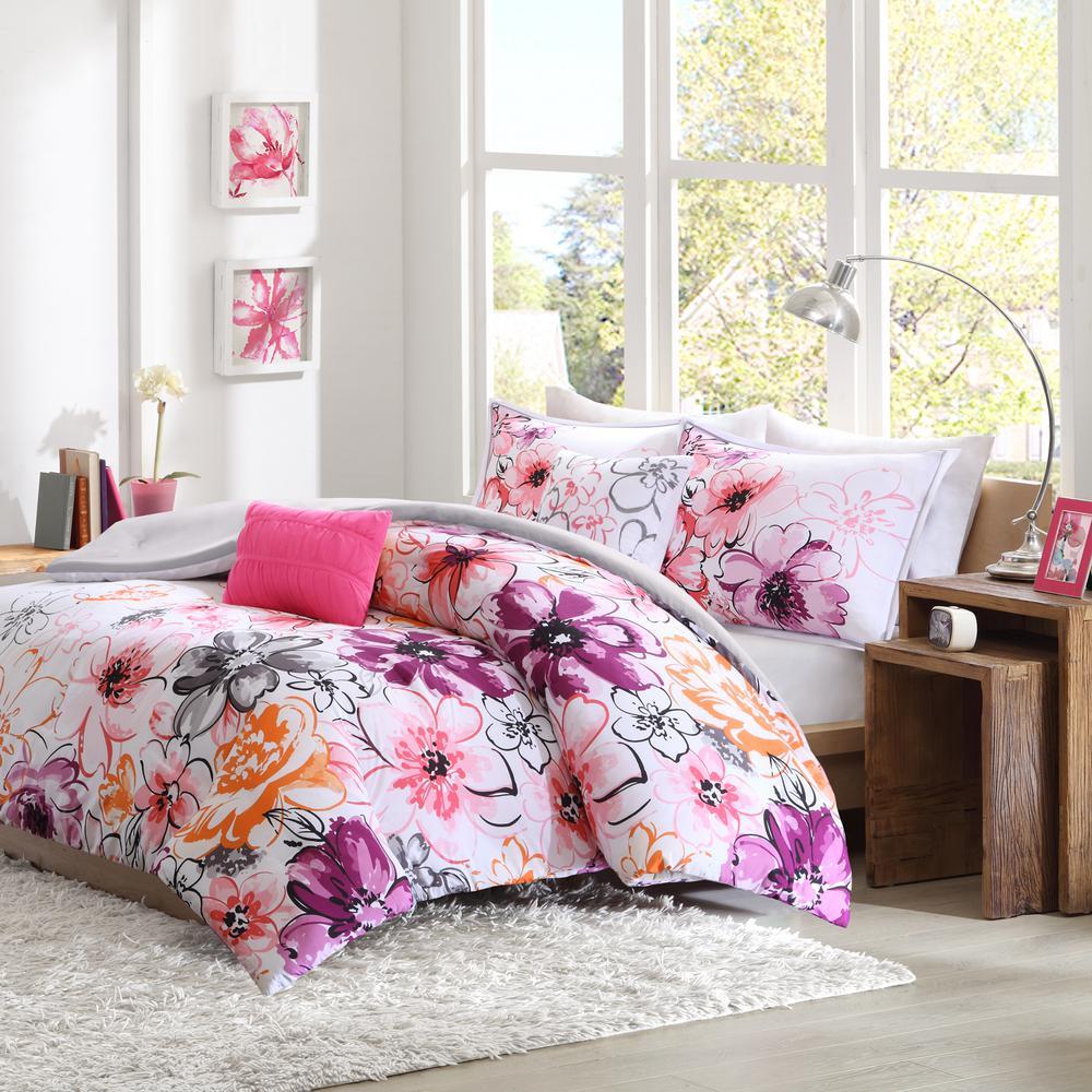 Ashley 5-Piece Pink Full/Queen Comforter Set