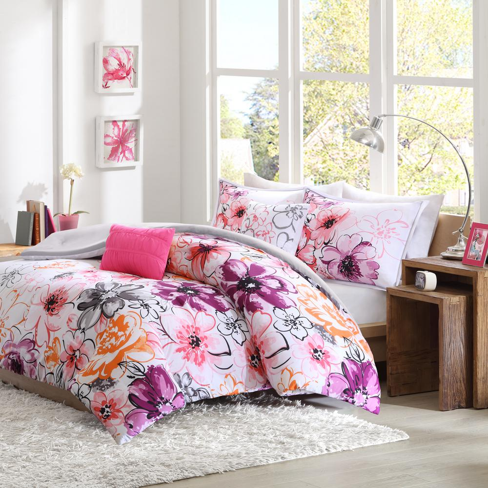 Intelligent design ashley 5 piece pink king california king floral comforter set